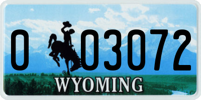 WY license plate 003072
