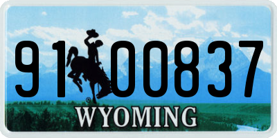 WY license plate 9100837
